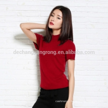 Spring and summer new semi - high round neck sweater T - shirt