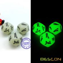 Glowing 12 Côtés Love Dice Lover Sex Position Luminous Dice for Adult Couples Dirty Dice Jeu Sexe
