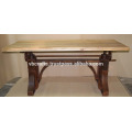 Metal Riveted Rust Color Heavy Mechanic Crank Dining Table