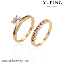 14445 Hot sale glittering lovers jewelry simply style zircon paved rings set golden couples rings