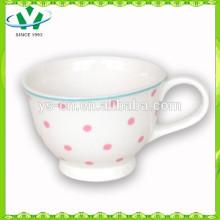 Hot Venda atacado Pink Dot cerâmica Coffee Cup Factory