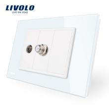 Livolo Blanc / Noir AU / US Standard TV de luxe et prise SATV VL-C91V1ST-11/12