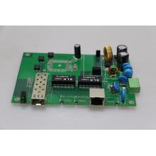 gigabit industrial PoE switch placa PCB 2 portas Din-rail 10/100/1000 Base com 1 porta gigabit SFP