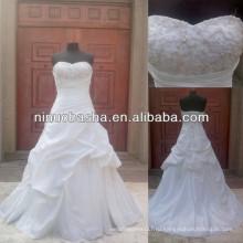 З-486 бисером Топ тафты реальный образец свадебное платье 2014