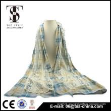 La bufanda larga de la muchacha de la bufanda del cordón del algodón de las mujeres calientes de la manera envuelve el mantón