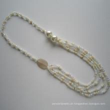 Colar atacado Shell multi & colar de cristal, joias de moda,