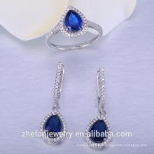 Conjunto de joyas de cristal de zafiro nupcial de plata Conjunto de collar de bodas 925 accesorios nupciales de la joyería de plata esterlina