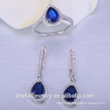 Silver Bridal sapphire glass Jewelry set Wedding Necklace Set 925 sterling silver jewelry bridal accessories