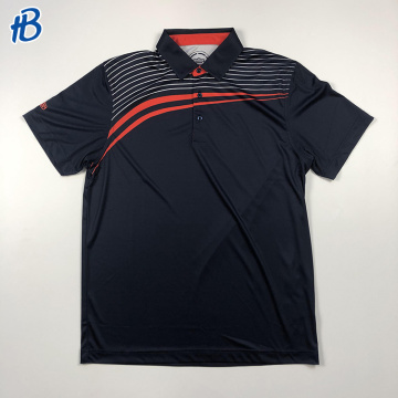 polos de golf noirs à rayures orange blanches