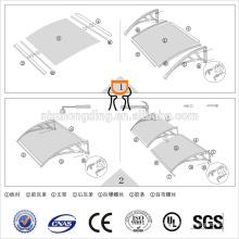 Revestimiento de policarbonato UV / toldo de policarbonato