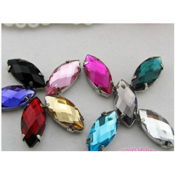 Natteve Flat Back Stones Glass Beads with Claw Settings