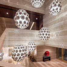 Foyer long bubble round glass ball lobby decorative staircase glass modern led chandelier lighting
