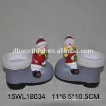 wholesale ceramic candle holder in snowman shape for christmas decoration