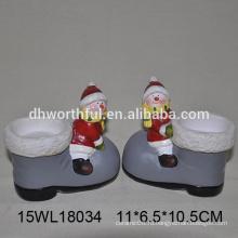 Оптовый керамический держатель свечи в форме снеговика для рождественского украшения