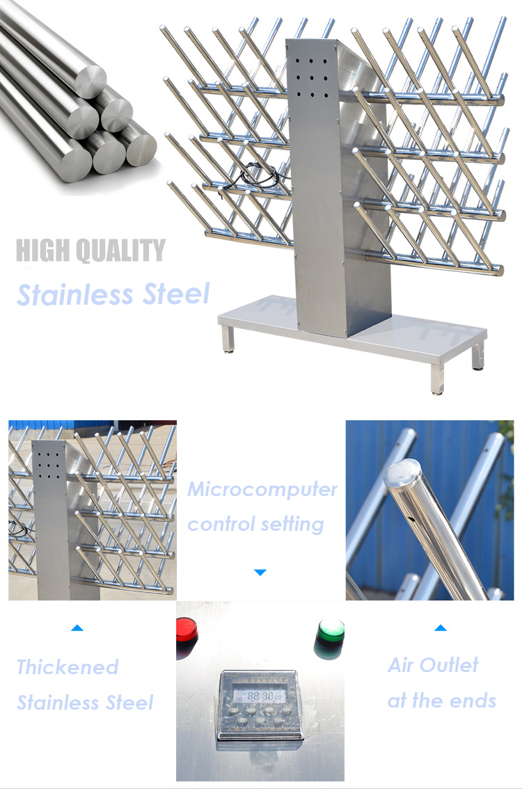 Floor-standing stainless steel boots drier