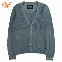 Jersey de punto de algodón azul marino con mangas largas para hombre