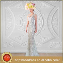 RK3 Ornate Sparkling Full Length Sleeveless Formal Evening Party Gown Crystals Silver Mermaid Prom Dress Vestidos Para Festa