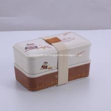 Caja de contenedores de comida de bambú con patrón de búho