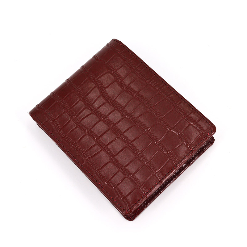 Custom Logo Vintage Crocodile Leather Bifold Mens Wallets
