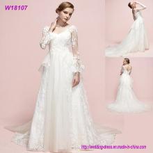 Reale Fotos lange Hülsen Muster Muster Nach Maß lange Braut Design Brautkleid