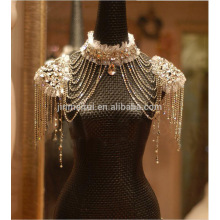 High quality Stunning Shining Crystal Wrap For Bride High Neckline Shoulder Shawl