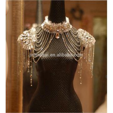 Высокое качество потрясающие блестящие Кристалл Wrap для невесты высокий воротник шалью