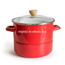 olla de vapor de revestimiento de esmalte de alta calidad y olla de esmalte de madera perilla