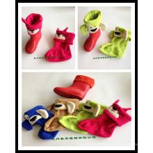 Inverno morno espessado crianças Fleece Rainshoe Liner meias em 4 cores