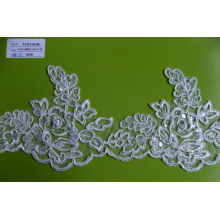 Cord Lace Fabric Embroidery Lace Flower Trim with Pearls TC814CB