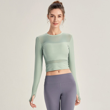 Train Cropped Top manica lunga con fori per i pollici