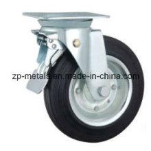 Rueda de la rueda de goma del compartimiento galvanizado de 6 pulgadas con el freno