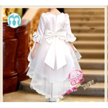 2016 latest design tailing dress party dress wedding long sleeves dress for kids girls wear