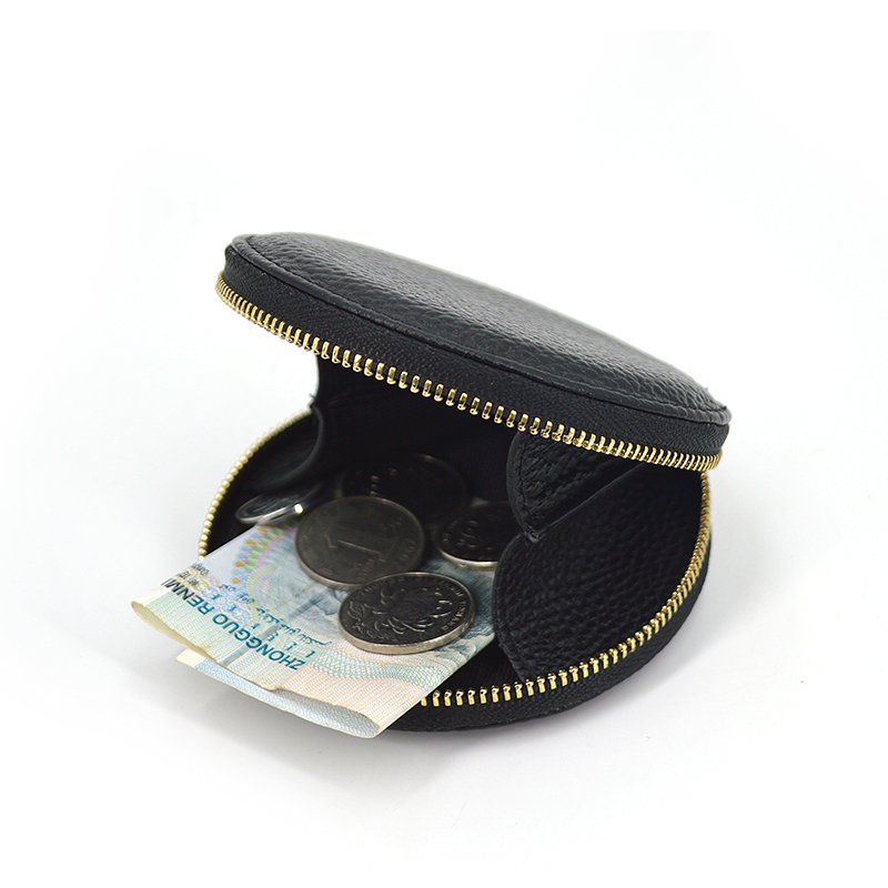 Leather Zipper Money Bag Coin Purse for Girls