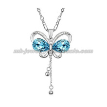 Fashion Colorful Butterfly Pendants Sweater Chain Necklace