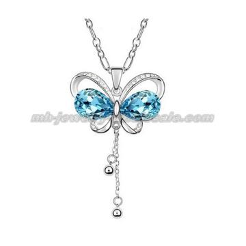 Collier de chaîne pull mode papillon coloré pendentifs