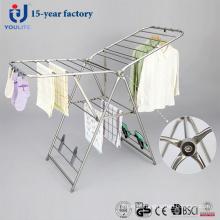 Rack de secagem de roupas dobrável de aço inoxidável de luxo