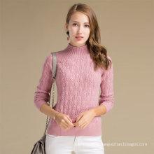 Chandail de laine de cachemire de coutume d'hiver de dames d'Alibaba Chine avec le modèle solide