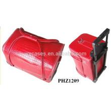 caliente vender cosméticos bolso trolley con patrón del cocodrilo rojo y 4 bandejas extraíbles dentro de
