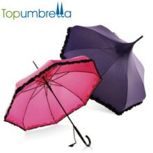 Uv protection parasols de jardin femmes parapluie avec de la dentelle protection solaire Sexy dames droite rose vintage parapluies