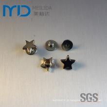 Estrela forma snap rebites e ornamentos de metal para moda apparels, vestuários, sacos e chapéus