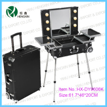 Cosmetic Case with Trolly Black Light Makeup Case (HX-DY9606K)