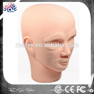 Tattoo Silicone Permanent Maquiagem Mannequin Head, Maquiagem Permanente Prática Pele 3D Rubber Tattoo Practice Skin