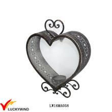 Антикварное стекло Металл Сердце Свеча Фонарь