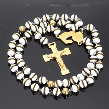 Cross Silicon Rosary Bead Chain Katolska Rosary Necklace