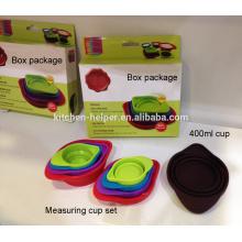 FDA Food Grade resistente al calor cocina herramientas de cocina plegable de silicona medidor de taza de 60/80/125/250 / 400ml