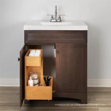 Caja en forma de L en el mueble de baño tocador