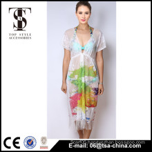 Top selling products 2016 Summer Ladies sexy african white lace with printing long dress