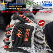Перчатки с защитой от царапин и противокновения, 13G Hppe Shell Cut-Level 5, Нитриловая пена с лаковым покрытием, Противоударный TPR на спине Механические перчатки