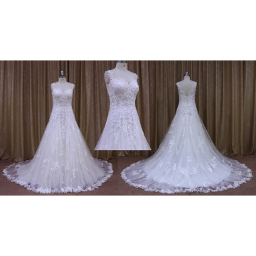 Sleeveless Lace Appliqued Wedding Dress