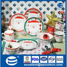 Прекрасные мультфильм Санта серии фарфоровые обеденные тарелки, кружки и миски, рождественский фарфор